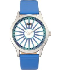 crayo unisex electric blue leatherette strap watch 41mm