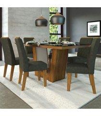 mesa de jantar 6 lugares condessa cedro/camurça/preto - viero móveis
