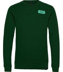 crewneck sweat with subtle chest artworks sweat-shirt tröja grön scotch & soda