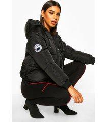 gewatteerde jas met stiksels en capuchon, black