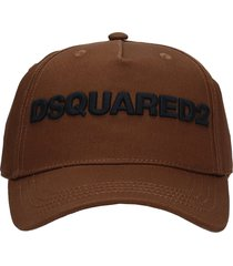 dsquared2 hats in brown cotton