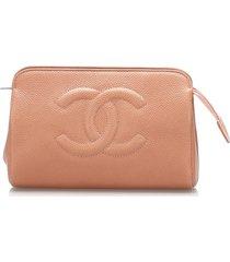 chanel cc caviar leather pouch orange sz: m