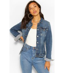 vintage wash jean jacket, mid blue