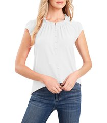 cece flutter sleeve stretch crepe top, size x-small in soft ecru at nordstrom