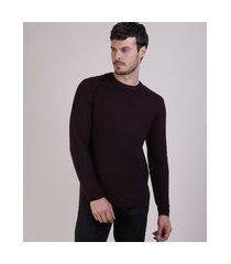 suéter masculino slim em tricô texturizado gola careca vinho
