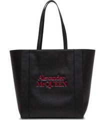 alexander mcqueen black leather shopper with contrasting logo
