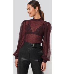 na-kd party high neck dobby blouse - red