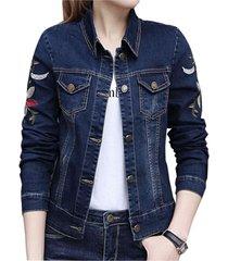 chaqueta mujer jean bordado a009 azul oscuro