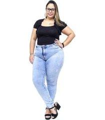 calça jeans feminina helix plus size skinny evanise
