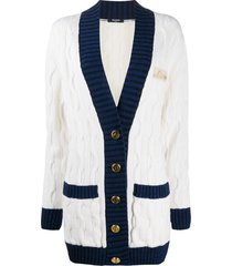balmain cable knit v-neck cardigan - white
