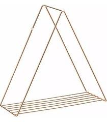 prateleira aramada arthi decora 38x40x17cm triangular metal rosé gold