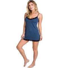 camisola curta inspirate listrada com renda azul marinho