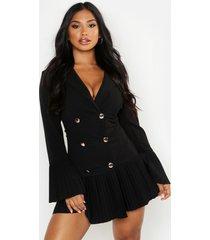 geplooide blazer jurk met franjezoom, zwart