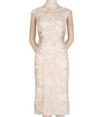 adrianna papell cap-sleeve embellished sheath dress