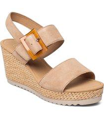 ankle-stap sandal sandalette med klack espadrilles beige gabor
