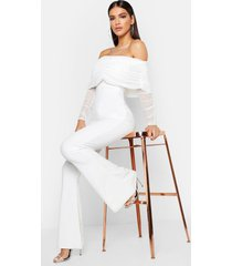 mesh bardot ruched jumpsuit, white