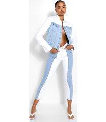 contrasterende mom jeans met hoge taille, wit