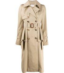 alexander mcqueen ruffled trench coat - brown