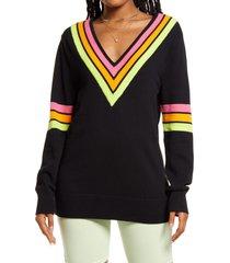 bp. be proud by bp. gender inclusive stripe detail cotton sweater, size x-large - black