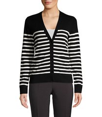 broome street heart patch stripe wool-blend cardigan