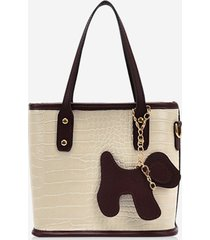 dog detail animal pattern pu leather tote bag