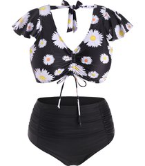 daisy print cinched front tie back plus size two piece swimsuit
