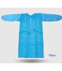 10 piezas monos desechables a prueba de polvo bata no tejida transpirable bloque de ropa de aislamiento antiestático aire exterior