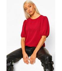 geweven blouse met hoge kraag, open rug en opdruk, berry