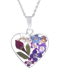 """medium heart dried flower pendant with 18"""" chain crafted in sterling silver. available in multi or blue"""