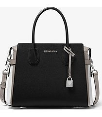 mk borsa a mano mercer media in pelle martellata tricolore - grigio pallido/optical/nero (grigio) - michael kors