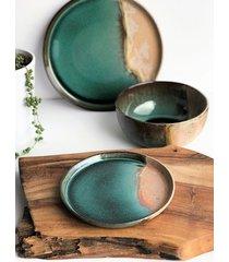 zestaw ceramiczny dla dwojga talerz miska talerzyk