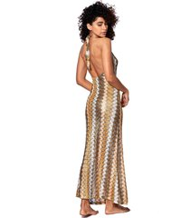 gold knitted chevron pattern gown