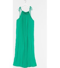 womens pleat of the moment tie maxi dress - green