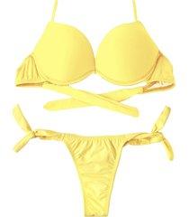 biquíni bojo bolha alça estreita divance amarelo calcinha de amarração lateral