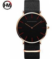 relojes de cuarzo de nylon para hombres y mujeres-dorado