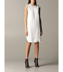 ermanno scervino dress ermanno scervino dress in linen blend with rhinestones
