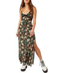 women's free people floral maxi dress, size large - black