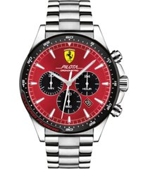 ferrari men's chronograph pilota stainless steel bracelet watch 45mm
