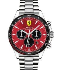 ferrari men's chronograph pilota stainless steel bracelet watch 45mm
