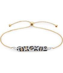 14k two-tone gold & multi-colored diamond bracelet