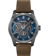 boss skeleton leather strap watch, 44mm in blue at nordstrom