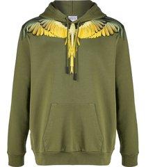 marcelo burlon county of milan winged shoulder hoodie - green