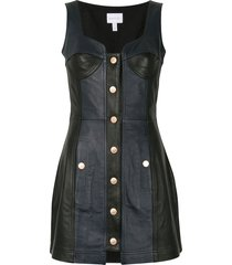 alice mccall leather button front dress - black