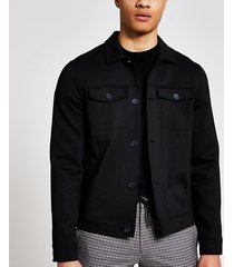 river island mens black button front skinny fit western jacket