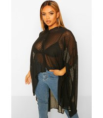 plus dobby chiffon oversized maxi shirt