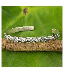 silver cuff bracelet, 'karen classic' (thailand)