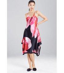 luminous lotus chemise, women's, red, 100% silk, size xs, josie natori