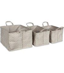 design imports polyethylene coated woven paper laundry bin tribal chevron stone rectangle set of 3