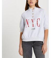river island womens grey frill collar nyc sweatshirt
