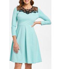 mesh insert high waist swing dress